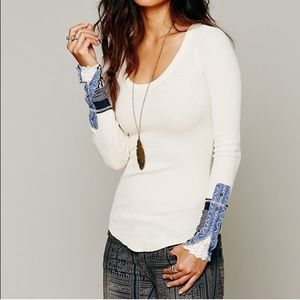 FREE PEOPLE Rare Kyoto Embroidered Sleeve Thermal